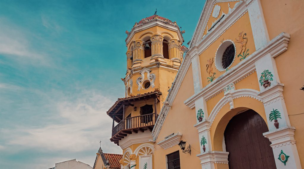 View of Santa Barbara church in Mompox, Colombia